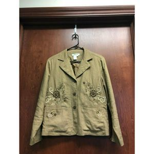 Coldwater Creek Brown Blazer Linen Floral Beads MP